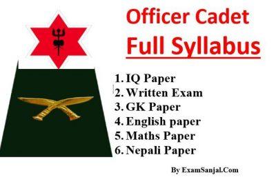 Syllabus of Officer Cadet Nepal Army ( Adhikrit Cadet Update Syllabus)