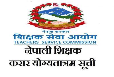 Nepali Teacher Contract Agreement (Merit List) Published By Teacher Service Commission