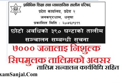 Free Skill Full & Technical Skill Training Notice By CTEVT & Pradesh 2 for All Local Level.