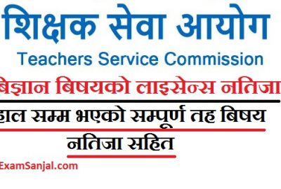 License Result of Teaching published by Teacher Service Commission ( Teaching License Result 2076)