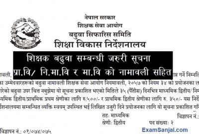 Teacher Promotion List Shikshak Ka Sa Mu Badhuwa Shikshak Sewa