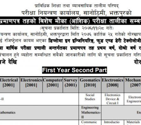 CTEVT Diploma Level Special Chance Exam Routine ( CTEVT PCL Diploma Exam Routine)