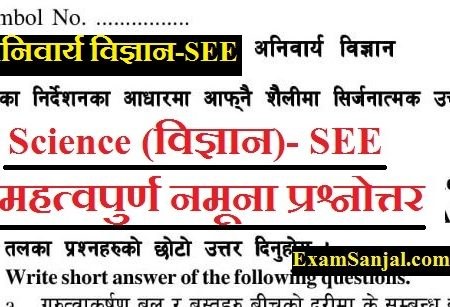 SEE Exam 2076 Probable Model Questions Science