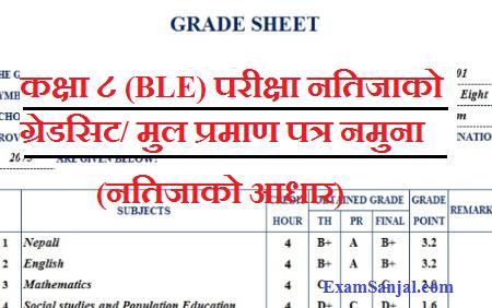 Class 8 BLE Exam Result Grade Sheet & Certificate Sample