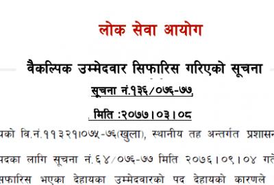 Lok Sewa Aayog published Baikalpik Ummedwar Sifaris Notice