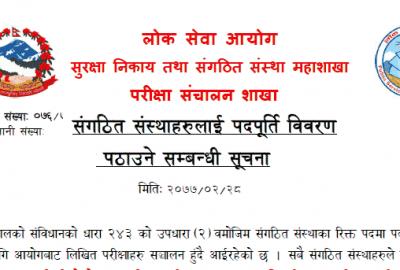 Lok Sewa Notice Regarding Vacancy Post of Organize organization