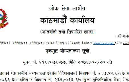 Final Result published Lok Sewa Aayog Merit List
