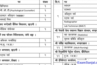 Nepal Army Sainik Kalyankari Kosh Vacancy Notice