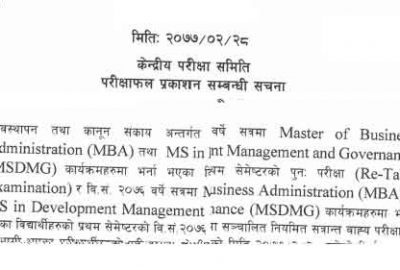 Faculty of Management and Law Result Published by NOU