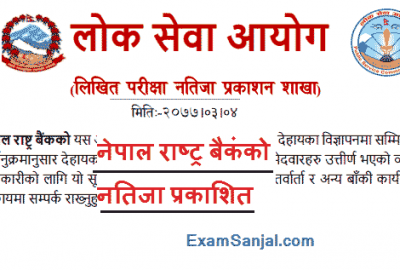 Nepal Rastra Bank Exam Result published by Lok Sewa