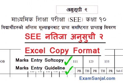 SEE Result Marks Entry Online Excel Copy with Anusuchi 2