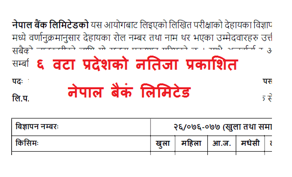 Nepal Bank Limited Vacancy Result Published Assistant Level