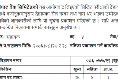 Nepal Bank Limited Written Exam Result Assistant Level