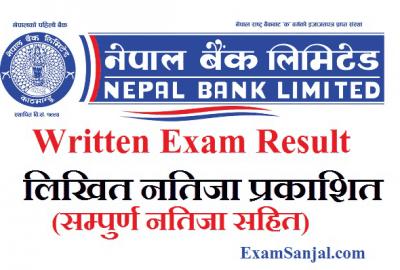 Nepal Bank Ltd (NBL) written exam result of Pradesh 5