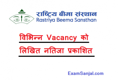Rastriya Bima Sansthan Vacancy Written exam result