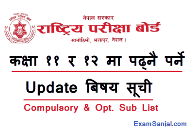 Class 11 & Class 12 All Subjects List NEB Subject list