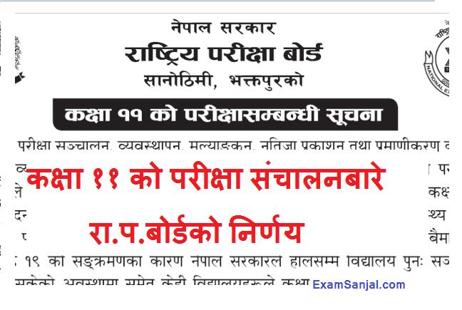 Class 11 Exam Notices by Rastriya Pariksha Board NEB