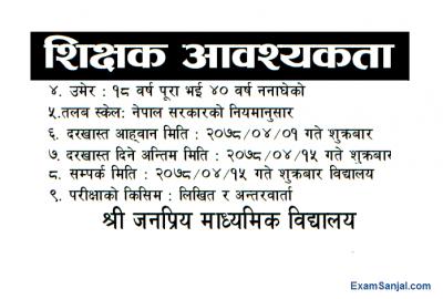 Teacher Teaching Job Vacancy Notice Government Community School