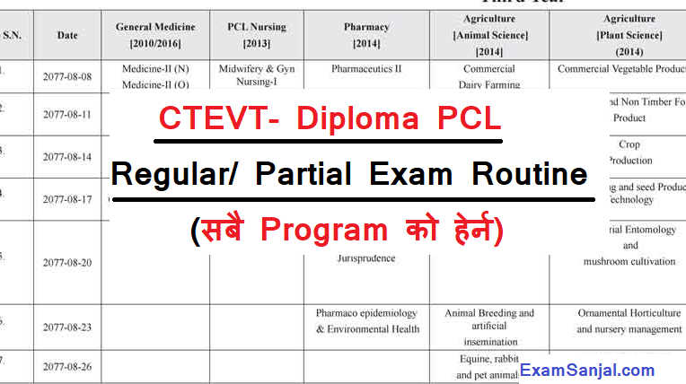 CTEVT Diploma PCL Certificate Level Regular Partial Exam Routine
