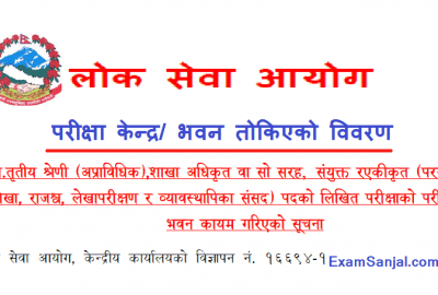 Section Officer Adhikrit Exam Center Notice by Lok Sewa Aayog