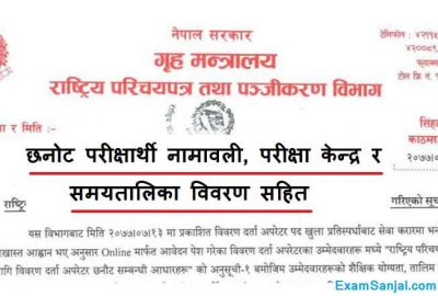 National ID Card Details Operator Exam Routine Center Parichaya Patra Darta