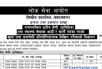 Lok Sewa Aayog Job Vacancy Notice Adhikrit Technical Health Vacancy