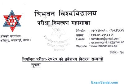TU Exam Admit Card Prabesh Patra Distribution Notice