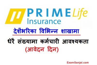 Prime Life Insurance Job Vacancy Notice for All over Nepal