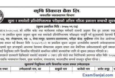 ADBL Krishi Bikash Bank published Final Results of Accountant