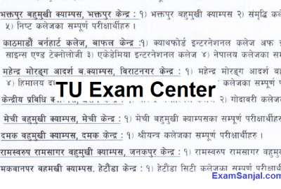 TU BSc Csit First Year First Semester Exam center details