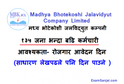 Madhya Bhotekoshi Hydropower Jalvidyut Company Job Vacancy Notice