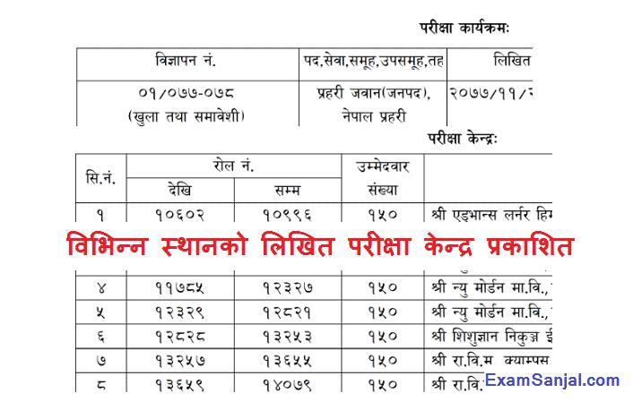 Nepal Police Jawan Exam Center by Lok Sewa Aayog Jaleshwor & Kathmandu