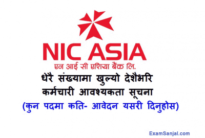 NIC Asia Bank Job Vacancy notice various posts for All Nepal