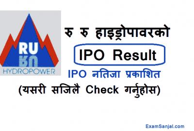 Ruru Hydropower IPO Result Published Check IPO Ruru Jalvidyut