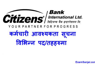 Citizens Bank Job Vacancy notice various posts