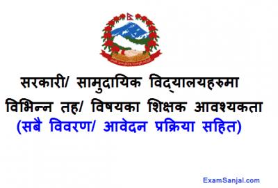 Government Community School Teacher Job Vacancy Notice Shikshak