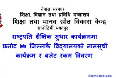 Rastrapati Shaikshik Sudhar Karyakram School Lists of All Nepal