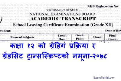 Class 12 Model Transcript Gradesheet Marksheet Sample NEB Pariksha Board