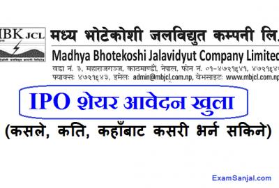 Madhya Bhotekoshi Jalvidyut IPO Share Open Notice