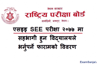 SEE Exam 2077 School Details Form Fillup notice by NEB