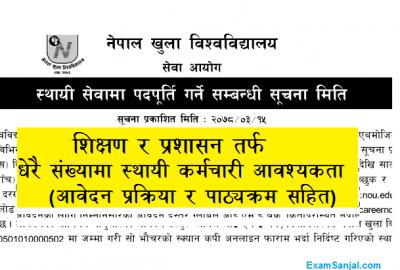 Nepal Open University NOU Job Vacancy Notice Khulla Bishwobidyalaya