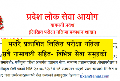 Pradesh Lok Sewa Bagmati Officer Written exam result name list