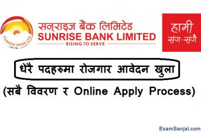Sunrise Bank Limited Job Vacancy Notice Banking Career