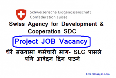 Swiss Agency For Development & Cooperation SDC MLRBP Job Vacancy