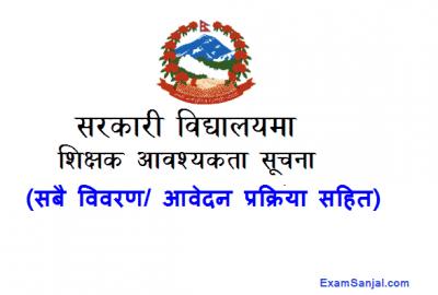 Government Sarkari School Teacher Job Vacancy Notice Teaching Jobs