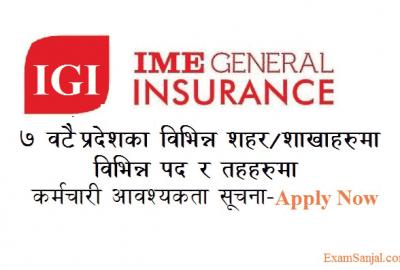 IME General Insurance IGI Company Job Vacancy Notice