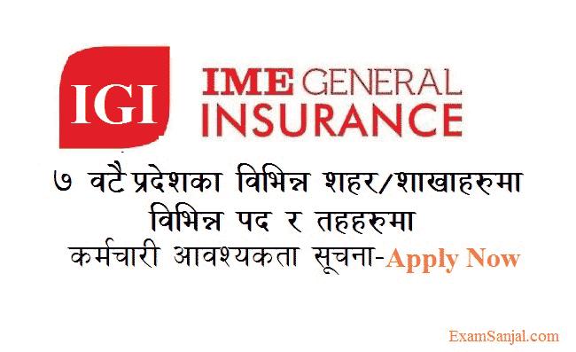 IME General Insurance IGI Company Job Vacancy Notice ...