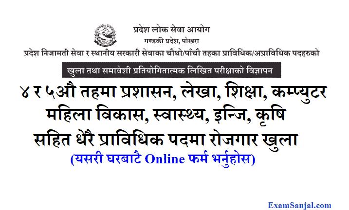 Gandaki Pradesh lok sewa job vacancy 4th 5th level pradesh local level
